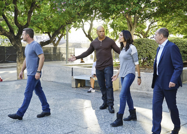 Chris O'Donnell as G. Callen, LL COOL J as Sam Hanna, Daniela Ruah as Kensi Blye, and Miguel Ferrer as Owen Granger