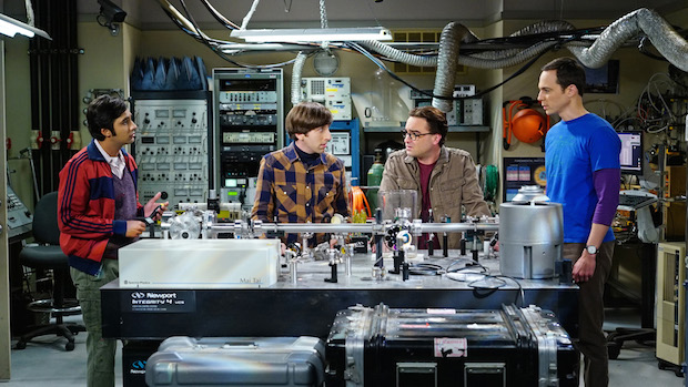 Raj, Howard, Leonard and Sheldon discuss a science problem