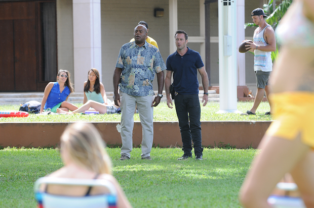Chi McBride as Captain Lou Grover and Alex O'Loughlin as Steve McGarrett