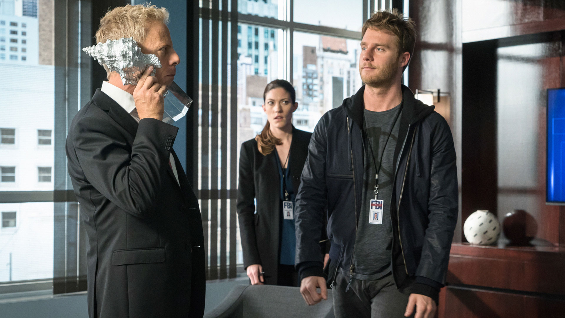 Greg Germann as ADIC Grady Johnson, Jake McDorman as Brian Finch, and Jennifer Carpenter as Agent Rebecca Harris