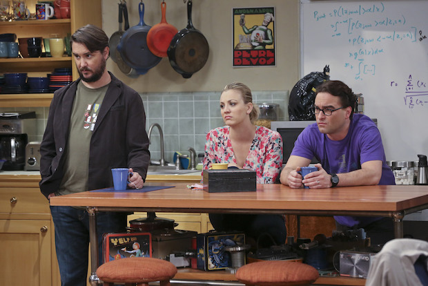 Wil, Penny, and Leonard watch Sheldon offer answers to Adam Nimoy