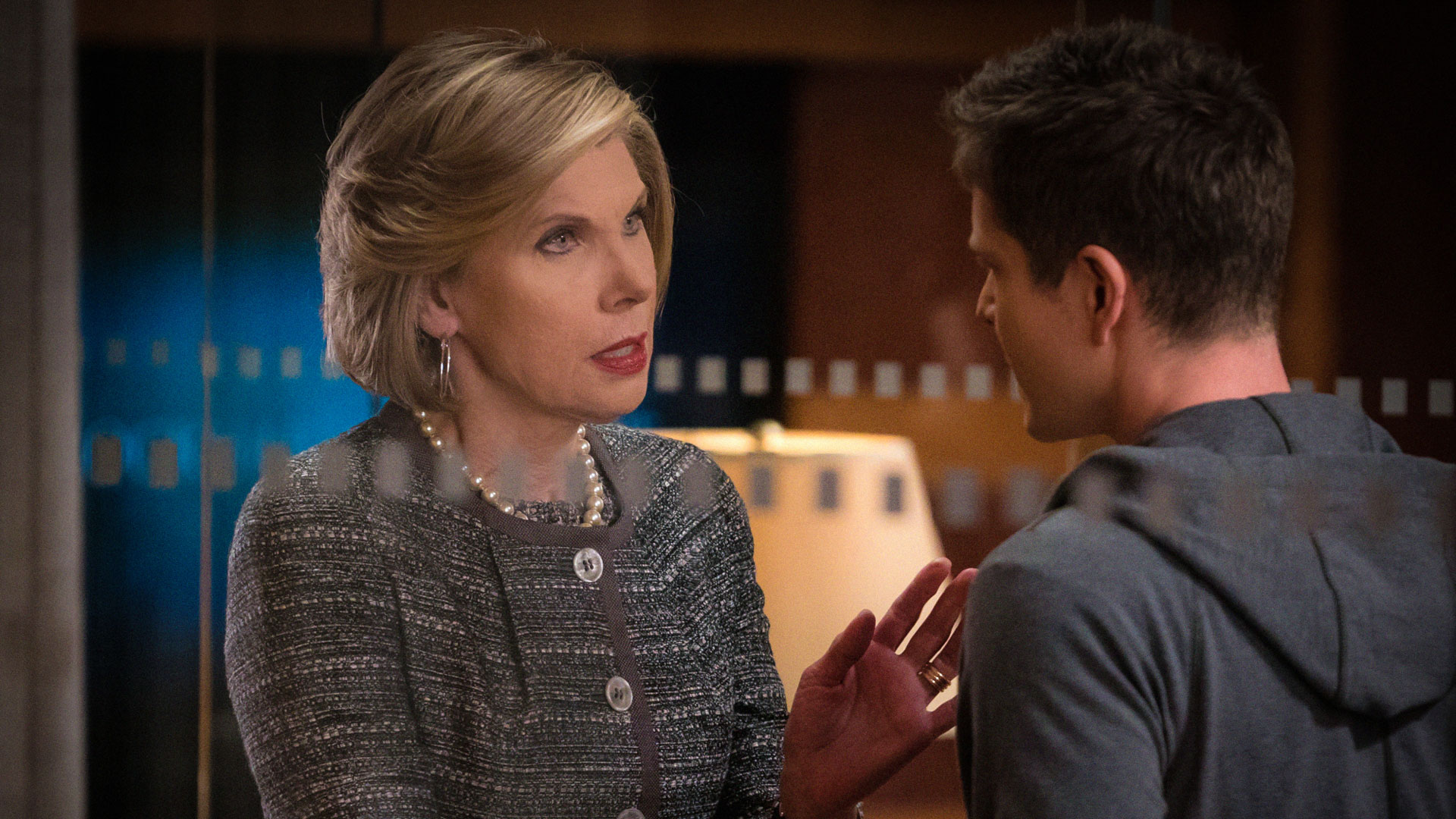 Christine Baranski as Diane Lockhart and Matt Czuchry as Cary Agos
