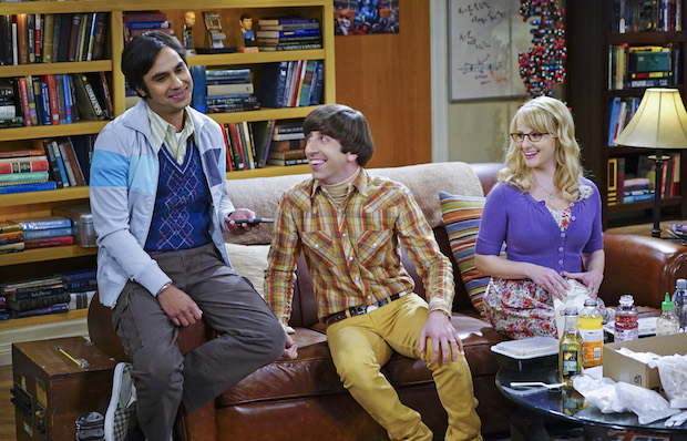 Raj chats with Howard and Bernadette