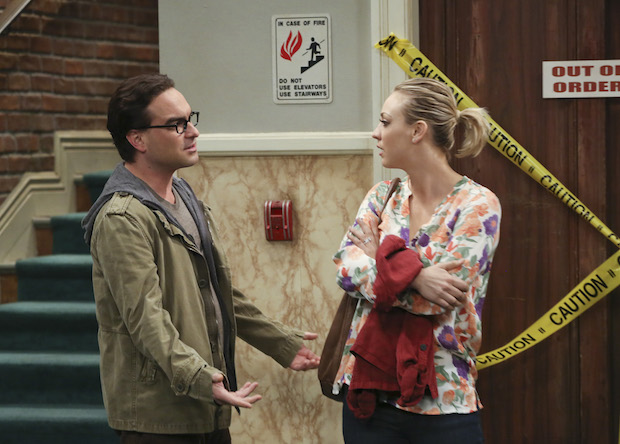 Penny and Leonard have a tense conversation outside the elevator