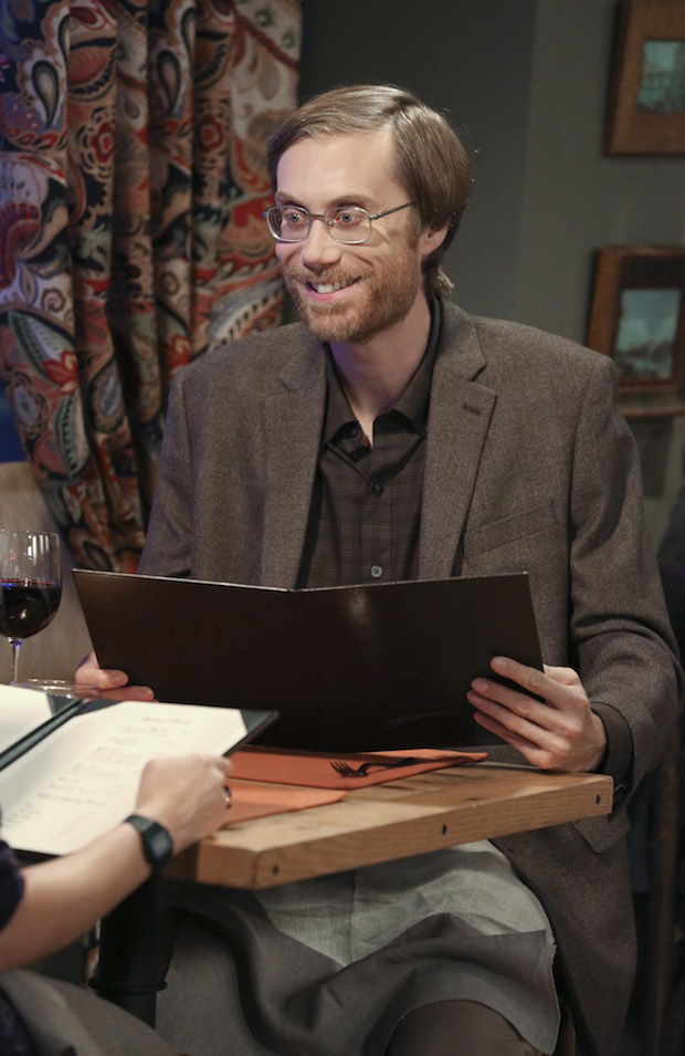 Stephen Merchant guest stars as Amy's date, Dave
