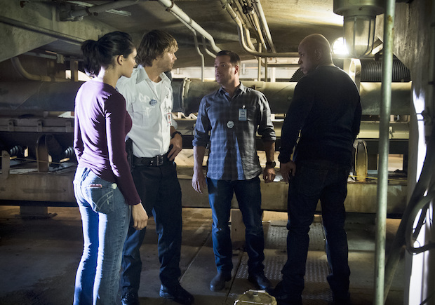 Daniela Ruah as Kensi Blye, Eric Christian Olsen as Marty Deeks, Chris O'Donnell as G. Callen, and LL COOL J as Sam Hanna