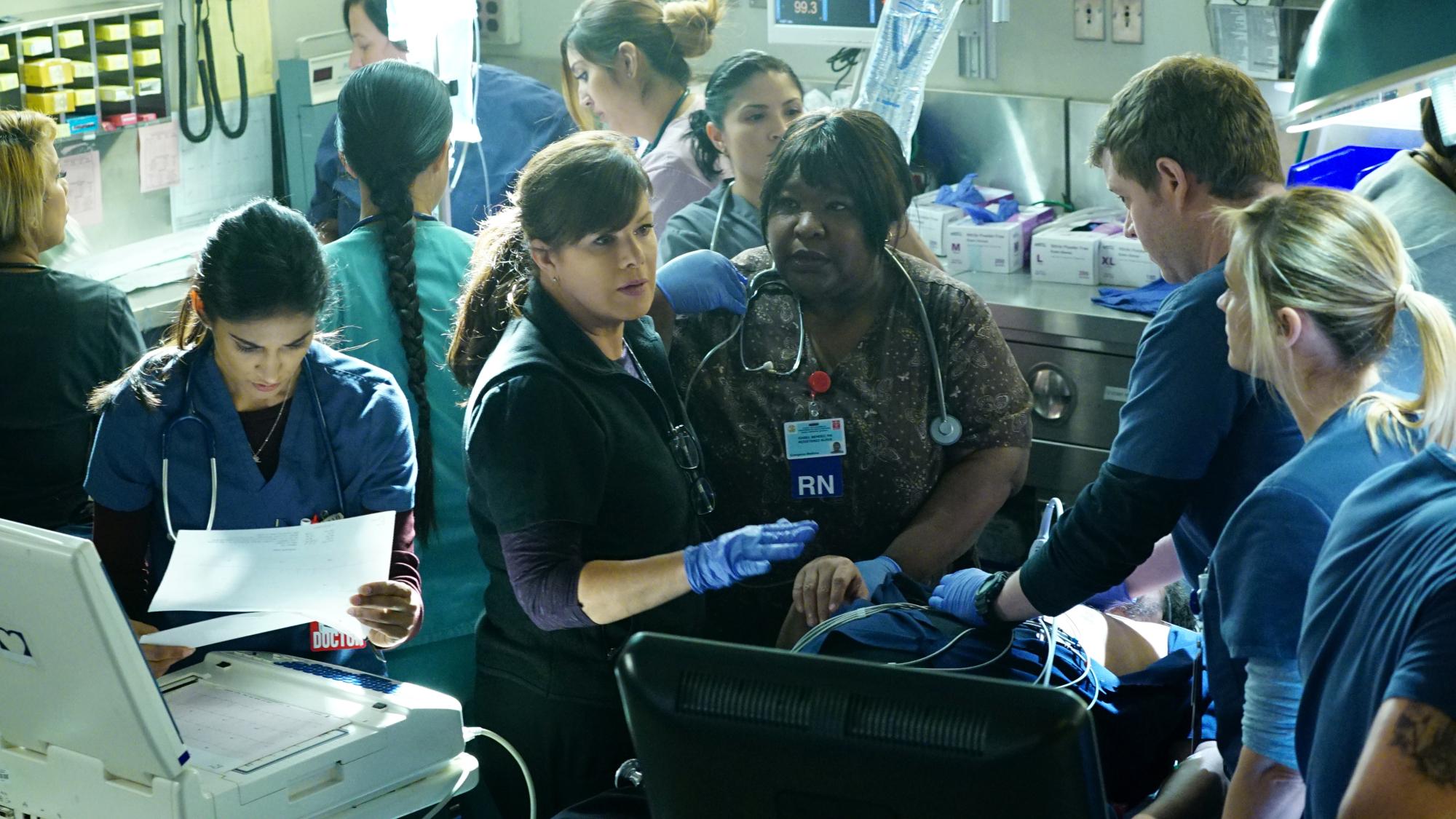 Melanie Chandra as Dr. Malaya Pineda and Marcia Gay Harden as Dr. Leanne Rorish
