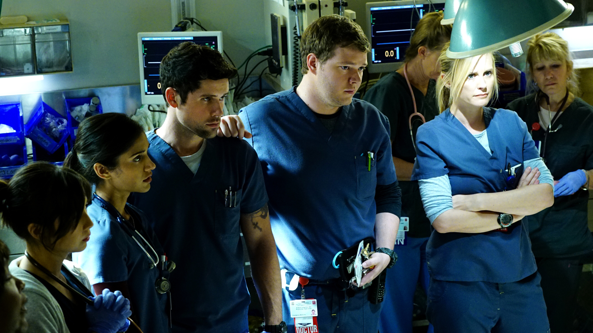 Melanie Chandra as Dr. Malaya Pineda, Benjamin Hollingsworth as Dr. Mario Savetti, Harry Ford as Dr. Angus Leighton, and Bonnie Somerville as Dr. Christa Lorenson