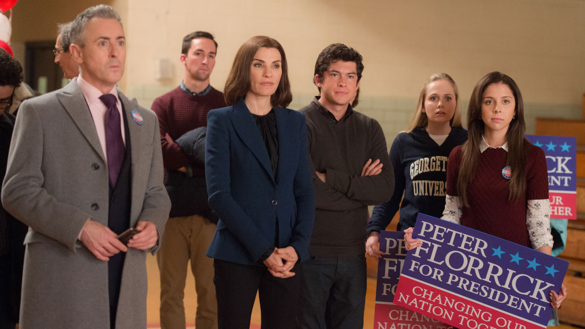 Alan Cumming as Eli Gold, Julianna Margulies as Alicia Florrick, Graham Phillips as Zach Florrick, and Makenzie Vega as Grace Florrick