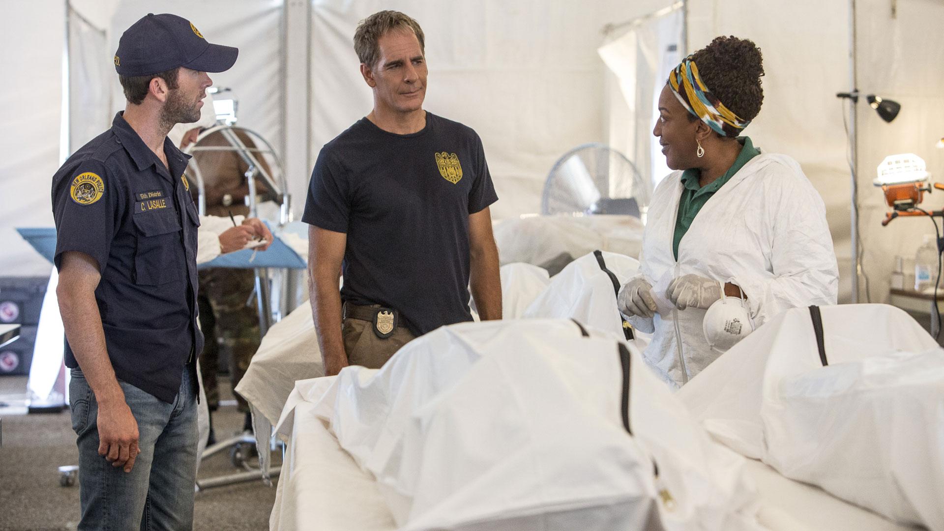 Lucas Black as Christopher LaSalle, Scott Bakula as Dwayne Pride, and CCH Pounder as Dr. Loretta Wade
