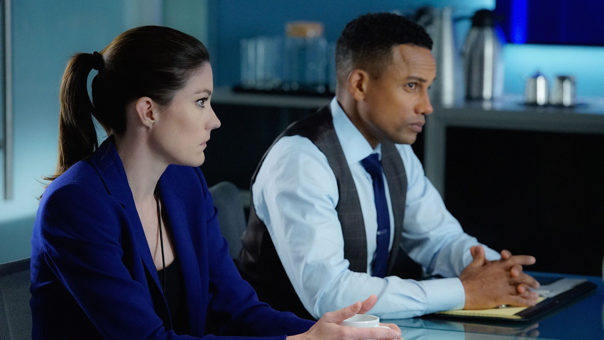 Jennifer Carpenter as Agent Rebecca Harris and Hill Harper as Agent Spelman Boyle