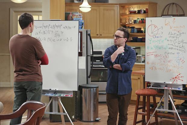 Sheldon and Leonard work through a math problem