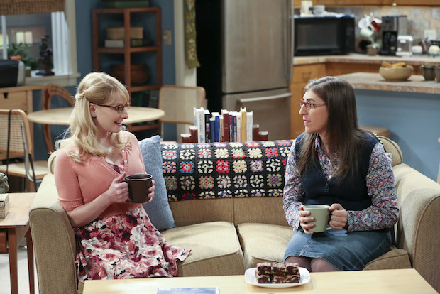 Bernadette and Amy chat over coffee