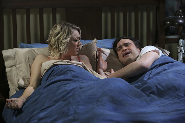 Penny and Leonard argue over Sheldon in bed