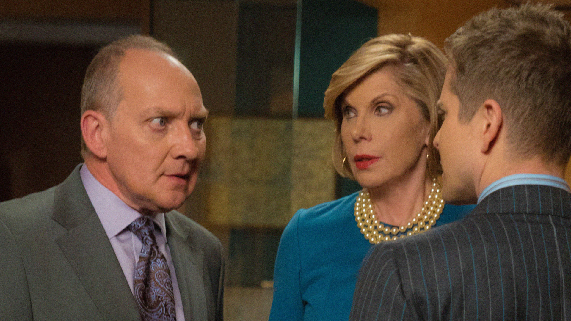 Zach Grenier as David Lee and Christine Baranski as Diane Lockhart