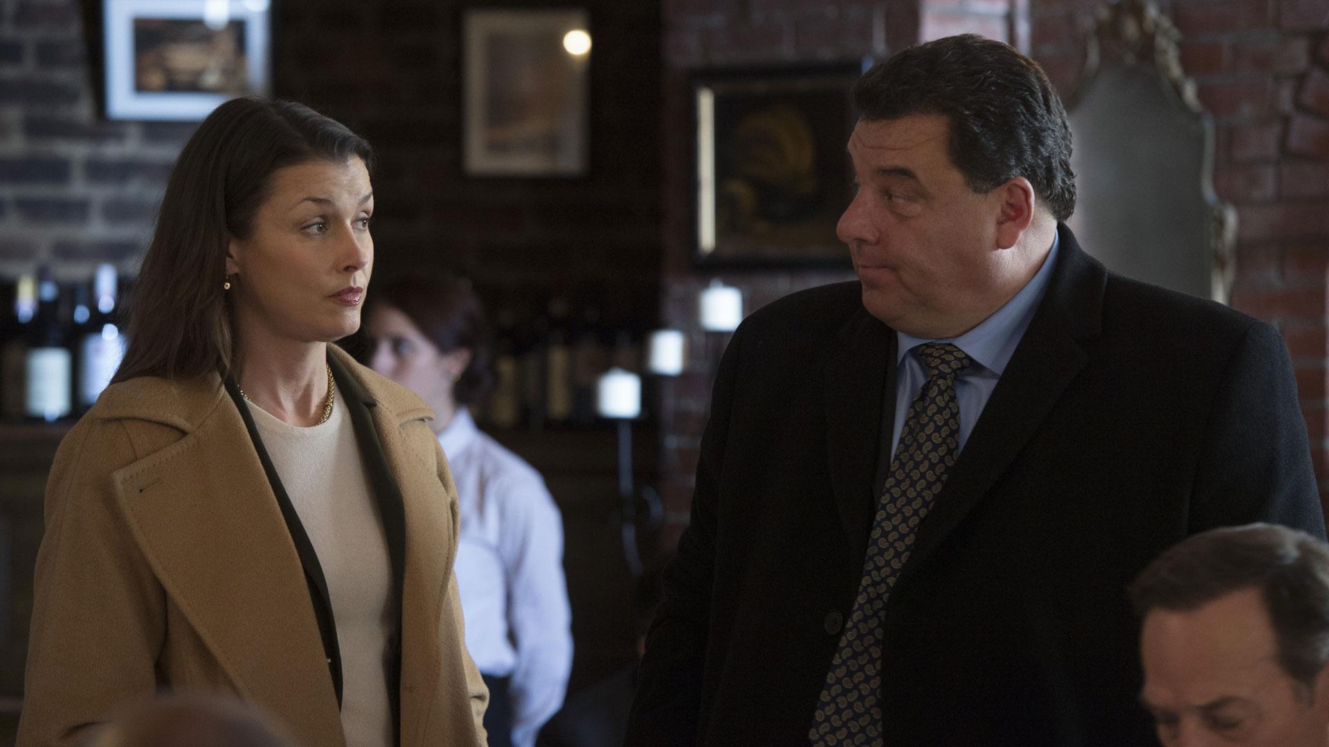 Bridget Moynahan as Erin Reagan and Steve Schirripa as Anthony Abetemarco