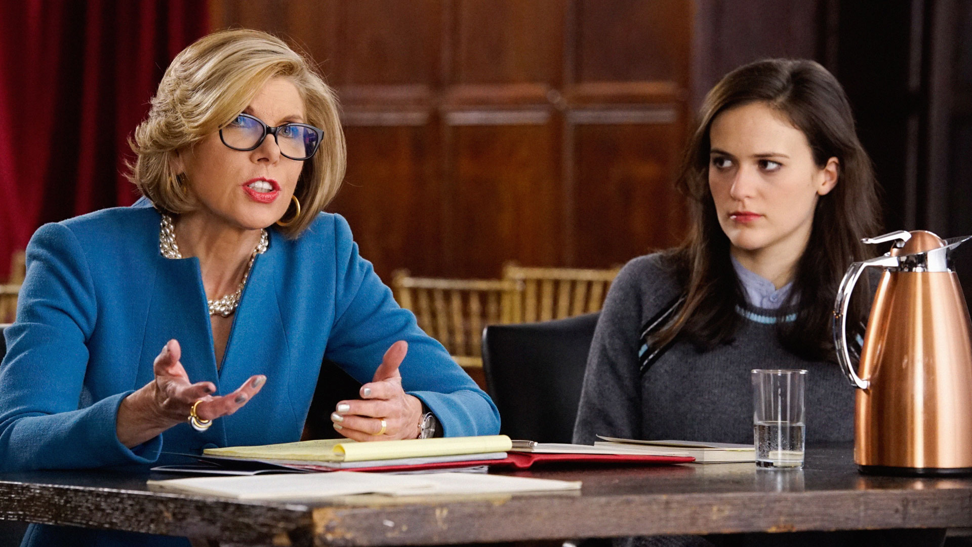 Christine Baranski as Diane Lockhart and Francesca Carpanini as Imogen Stowe