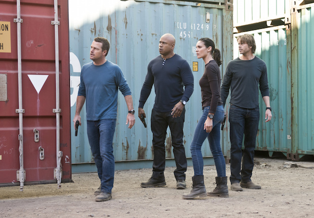 Chris O'Donnell as G. Callen, LL COOL J as Sam Hanna, Daniela Ruah as Kensi Blye, and Eric Christian Olsen as Marty Deeks