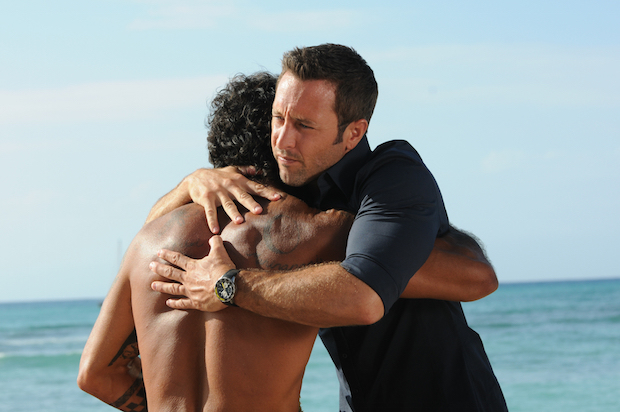 Kala Alexander as Kawika and Alex O'Loughlin as Steve McGarrett
