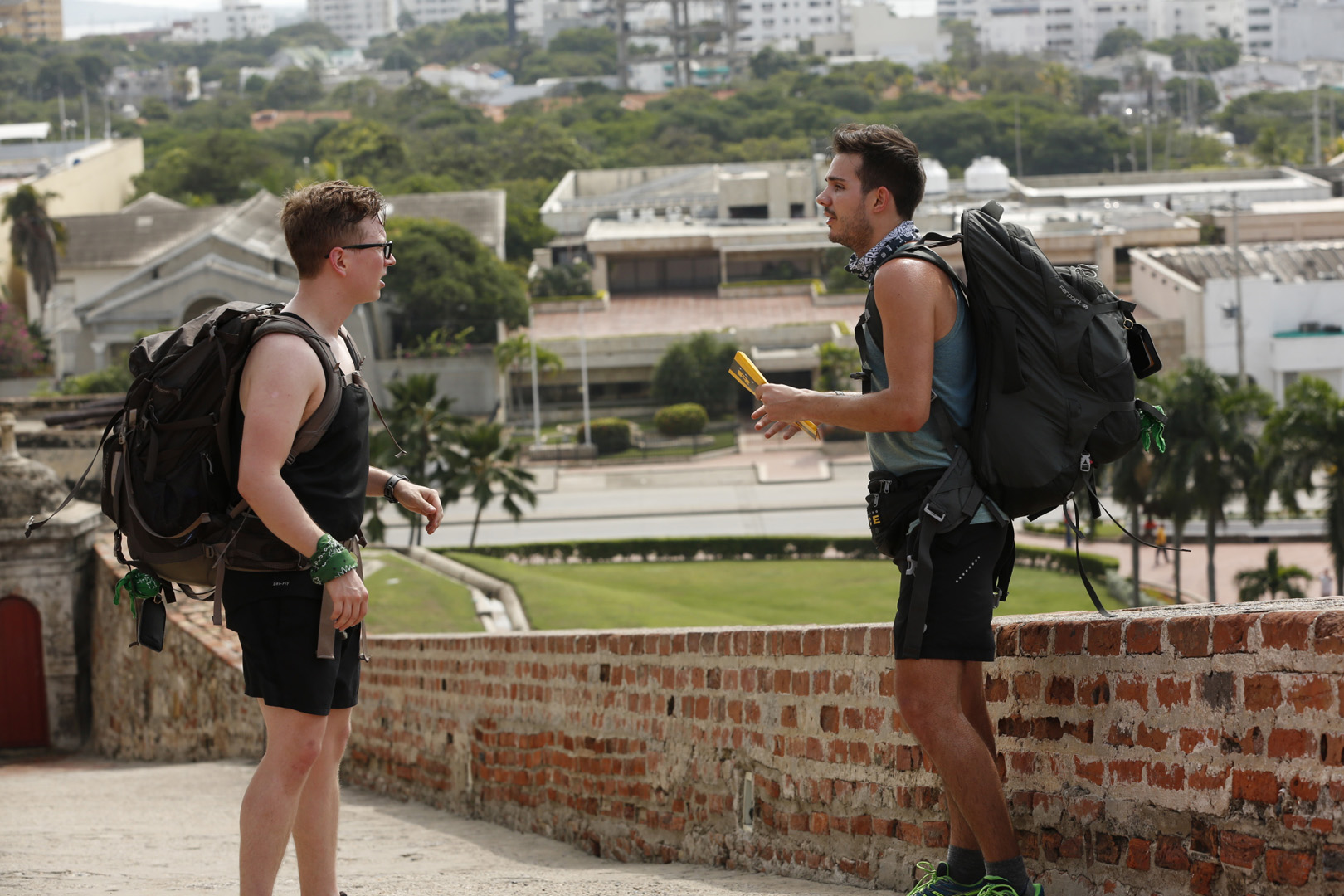 Tyler and Korey get familiar with their surroundings after arriving in Cartagena.
