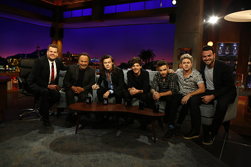 James, Billy, Harry, Louis, Liam, Niall, and executive producer Ben Winston