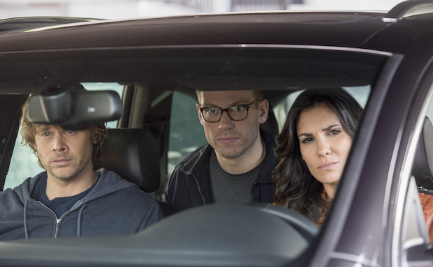 Eric Christian Olsen as Marty Deeks, Barrett Foa as Eric Beale, and Daniela Ruah as Kensi Blye
