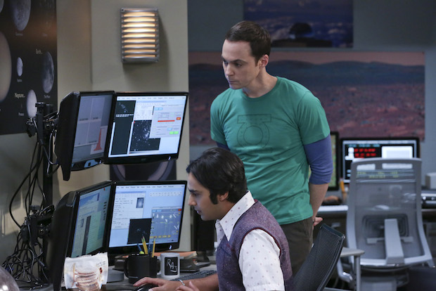 Raj and Sheldon work on a new discovery together