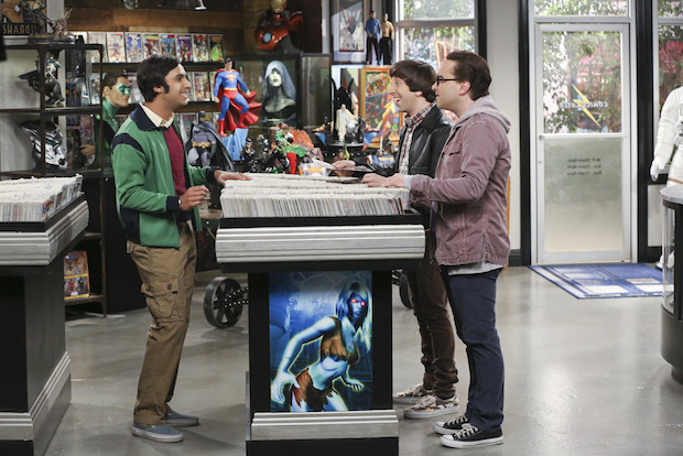 Raj, Howard, and Leonard make a stop at the comic-book store.