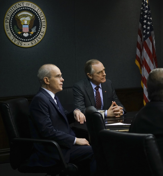 The President and Russell question all the departments.