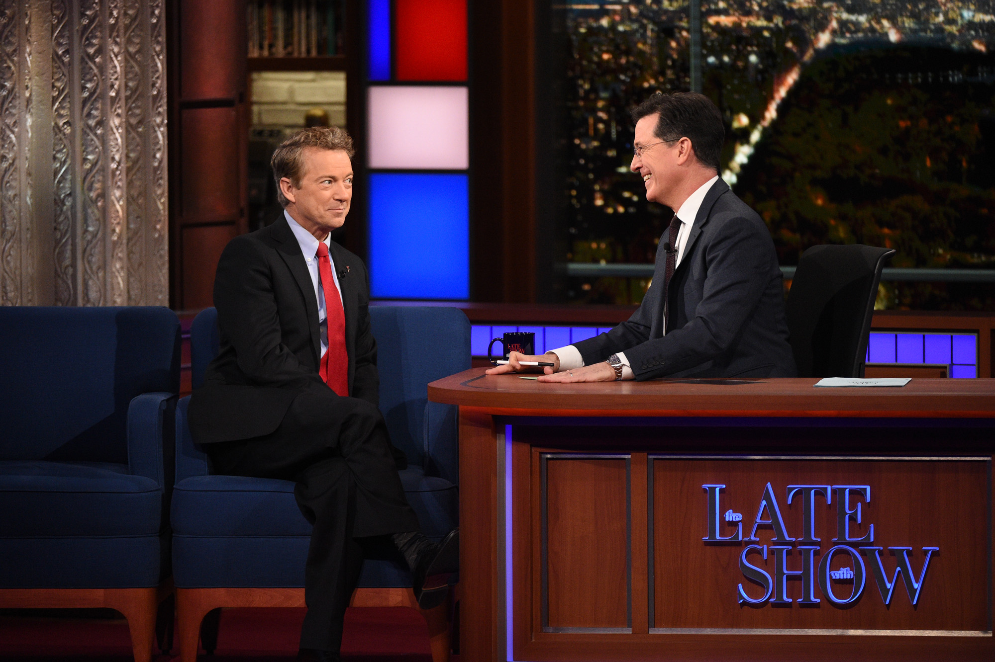 Rand Paul and Stephen Colbert