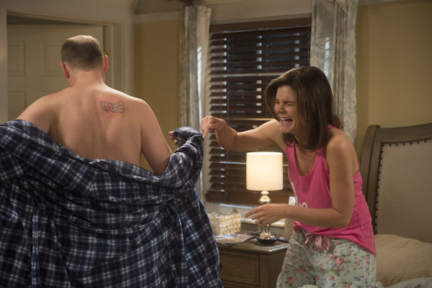 Tim doesn't get the most loving reaction when he shows his new tattoo to Heather.