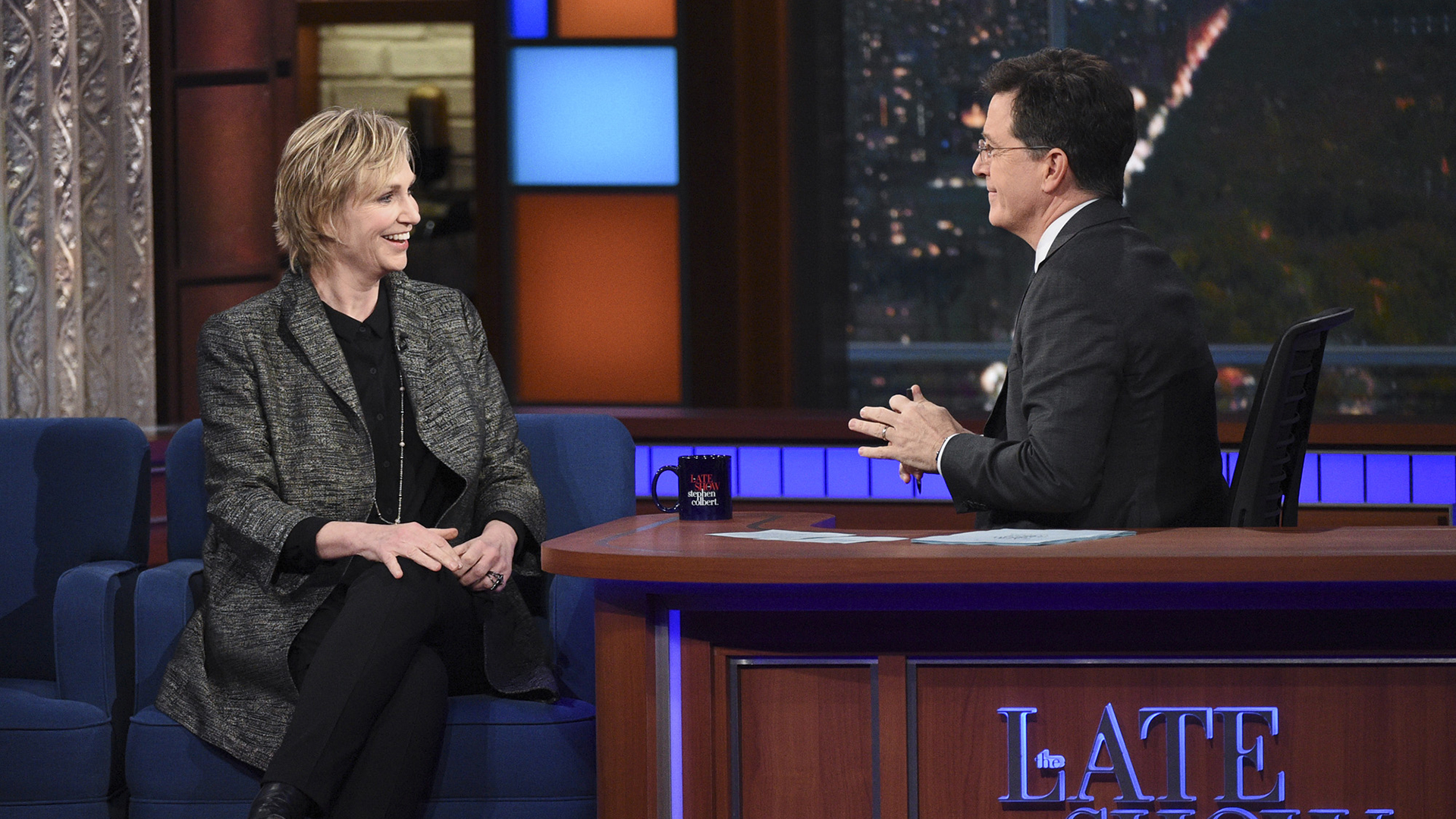 Jane Lynch and Stephen Colbert