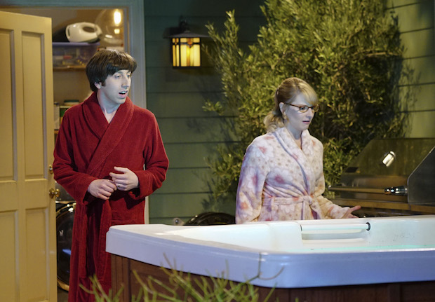 Howard and Bernadette spot something floating in the hot tub.