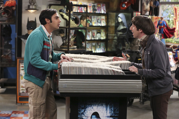 Raj and Howard have a debate at the comic-book shop.