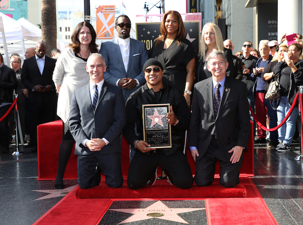 LL COOL J posed with his newly-minted star