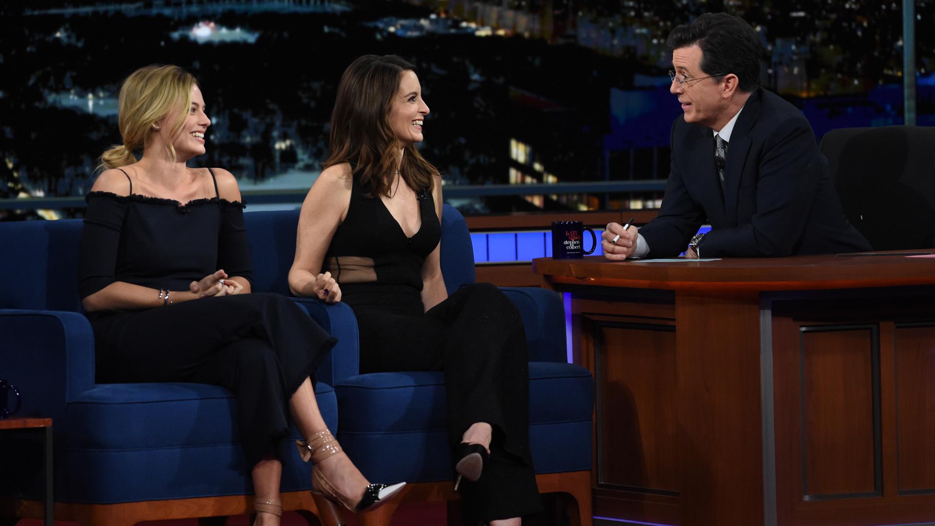 Tina Fey, Margot Robbie, and Stephen Colbert