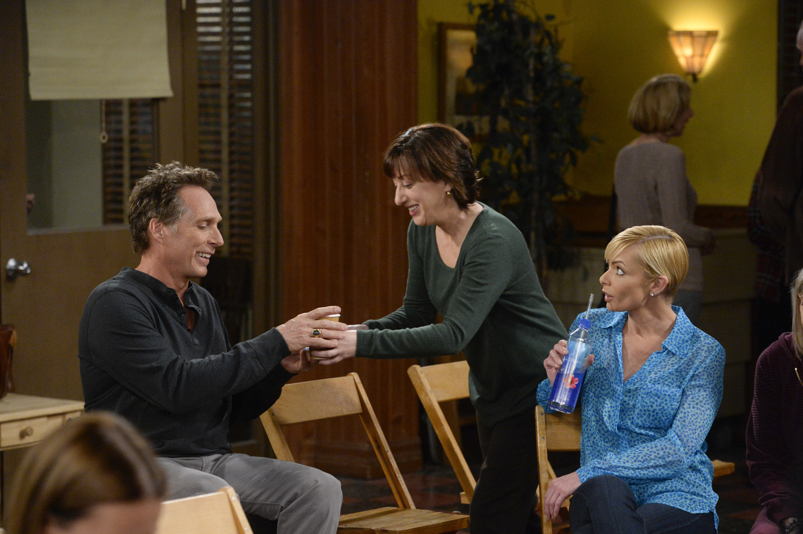 Wendy and Jill try to make Adam feel more comfortable at his first meeting.