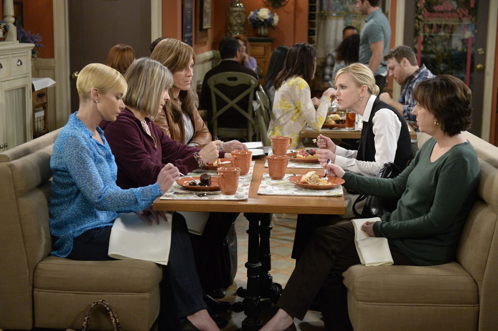 The ladies discuss Jodi's boyfriend, Travis, showing up to their A.A. meeting.