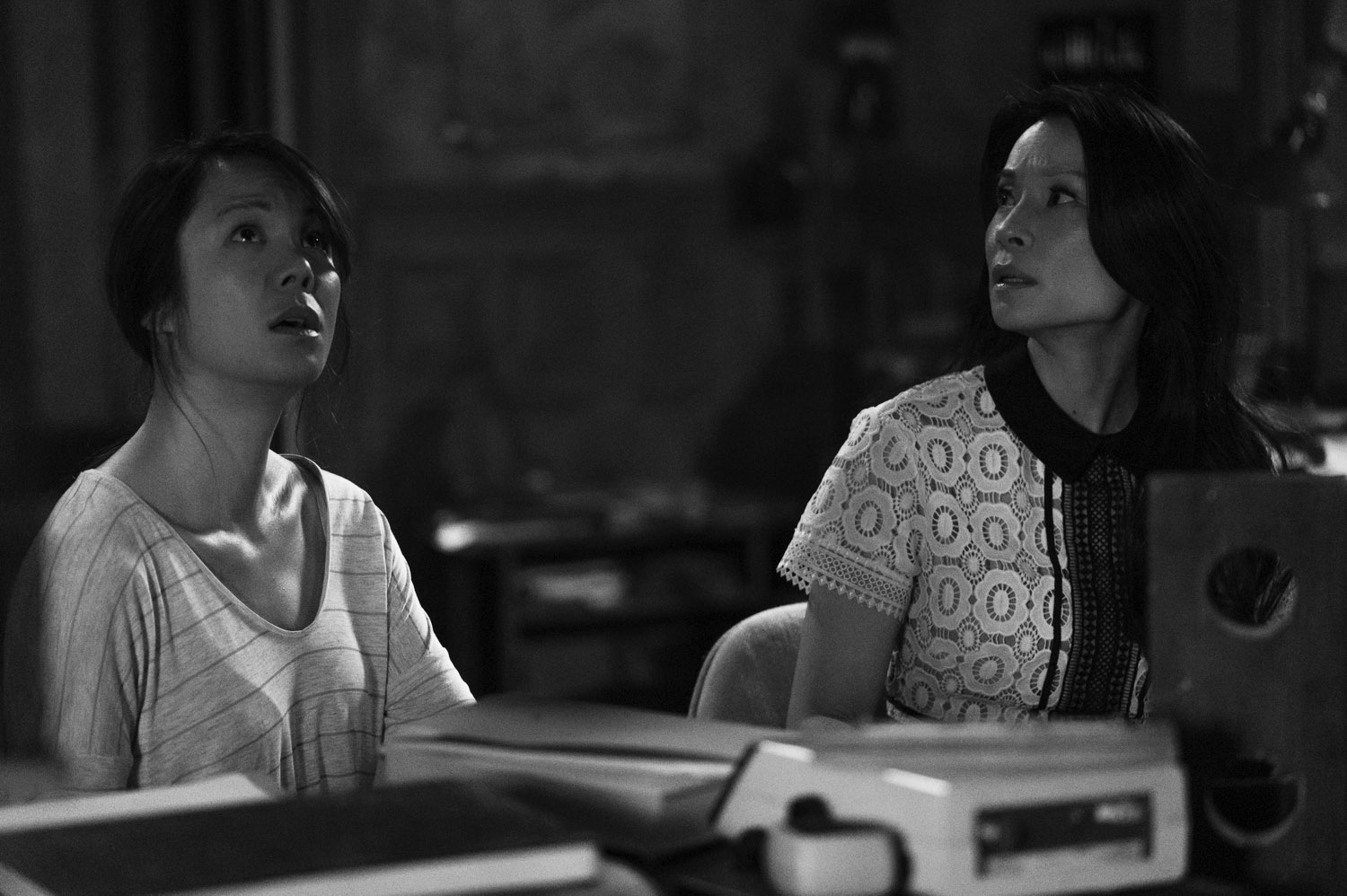 Samantha Quan and Lucy Liu get into character