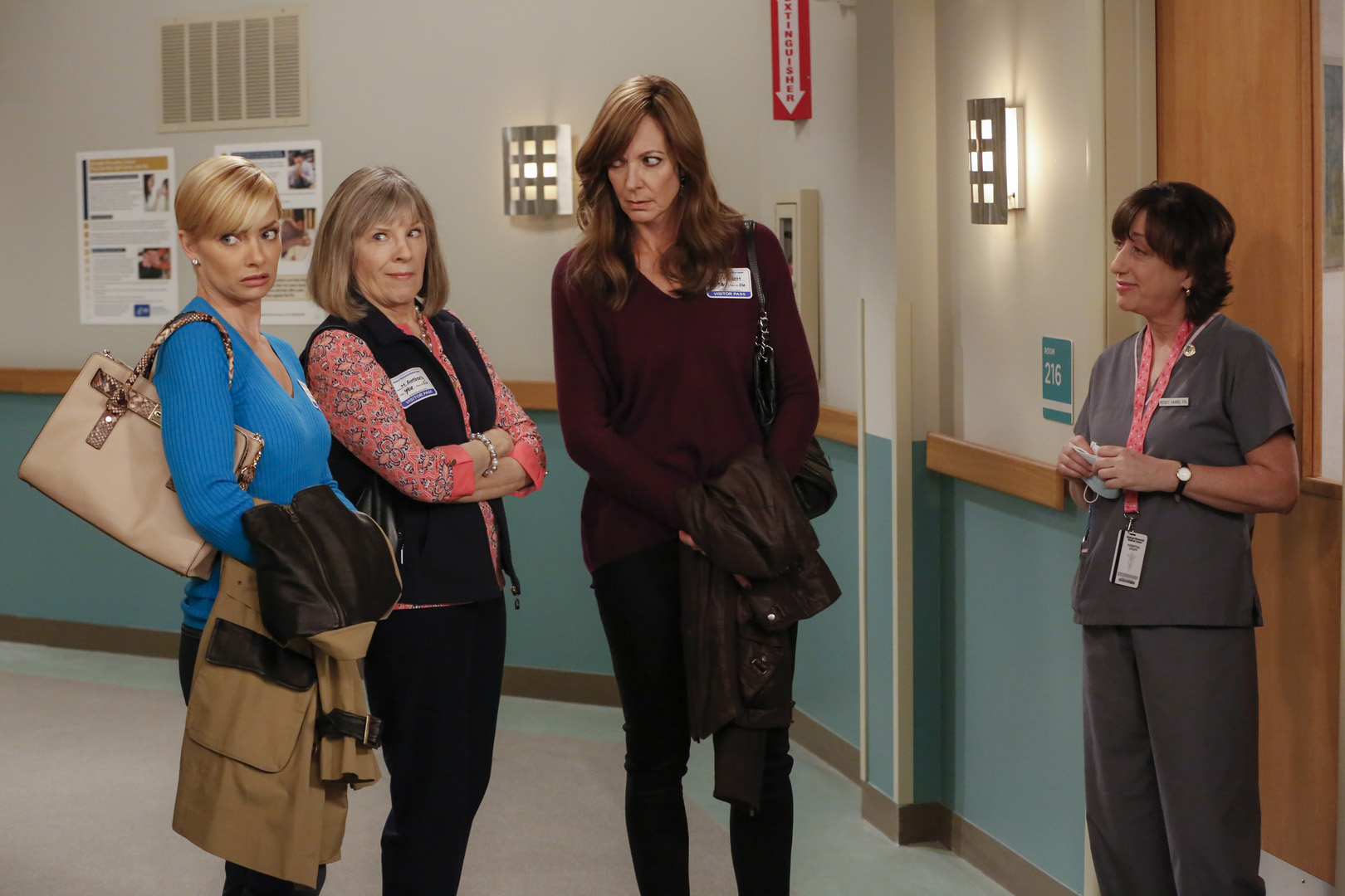 Jill, Marjorie, Bonnie, and Wendy wait outside Christy's hospital room.