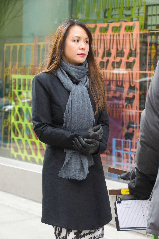 Samantha Quan between takes