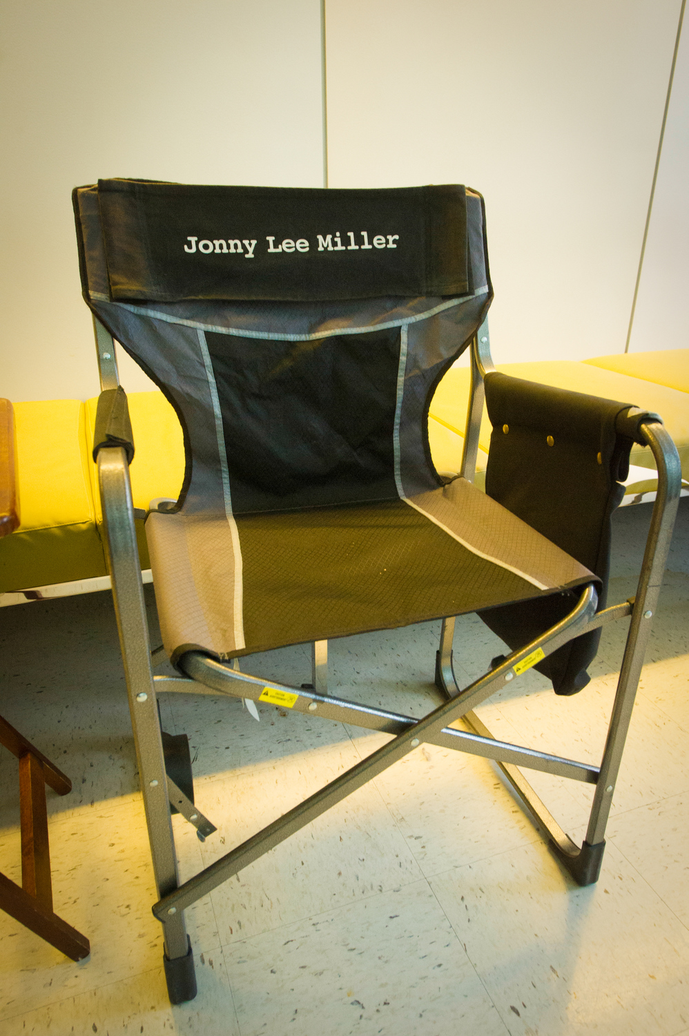 Jonny Lee Miller's chair on set