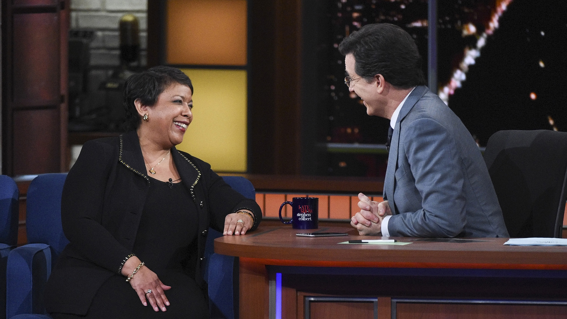 Loretta Lynch and Stephen Colbert