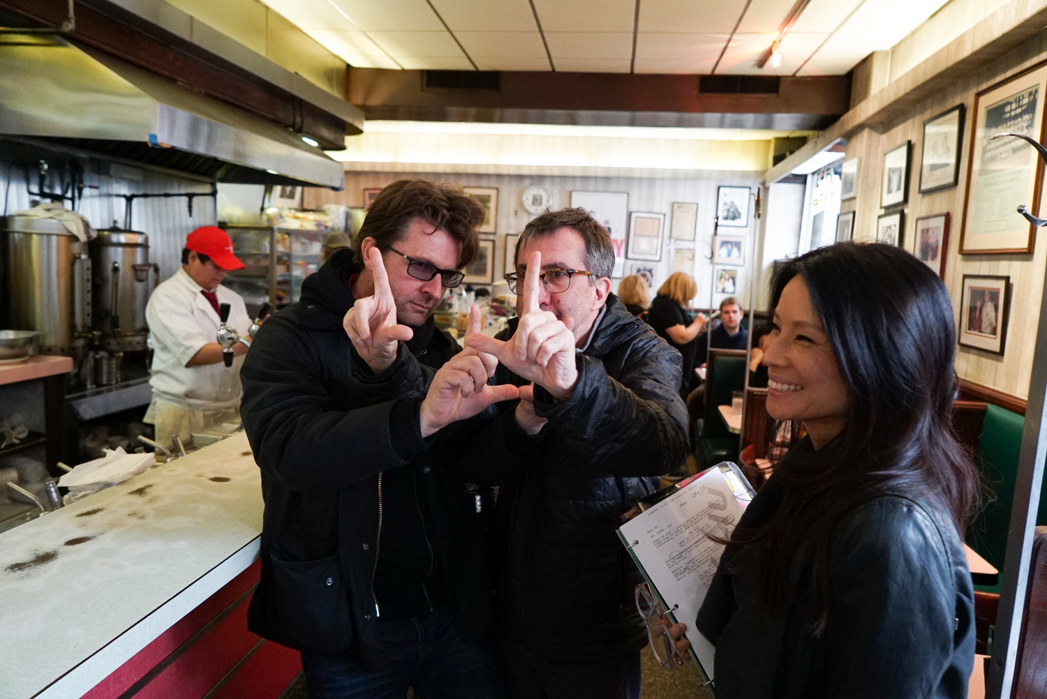 The team makes sure to get the diner shots just right