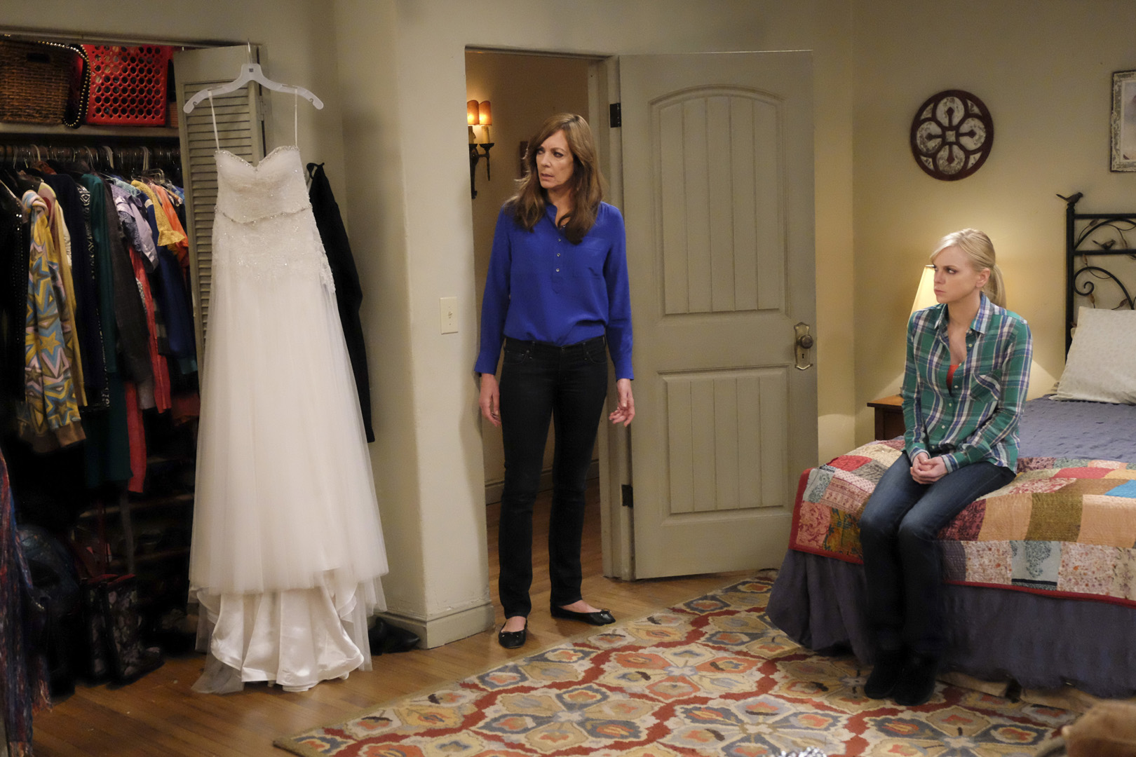 Violet's wedding dress becomes the centerpiece in Bonnie and Christy's bedroom.