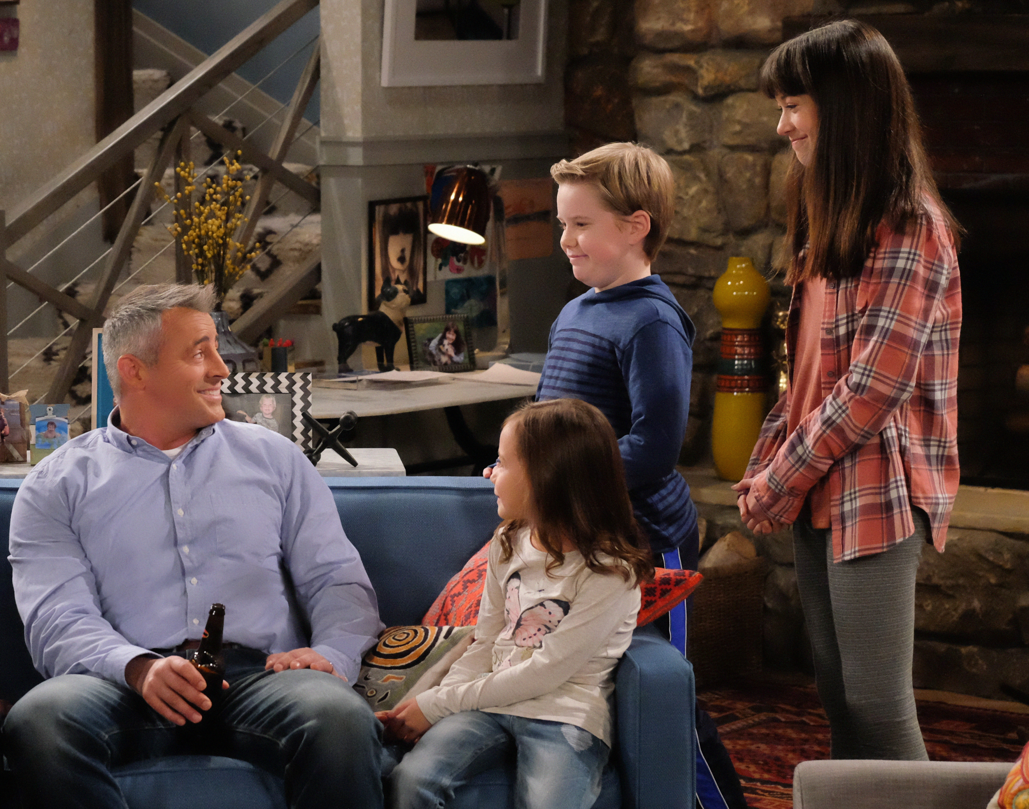 Matt LeBlanc as Adam, Hala Finley as Emme, Matthew McCann as Teddy, and Grace Kaufman as Kate