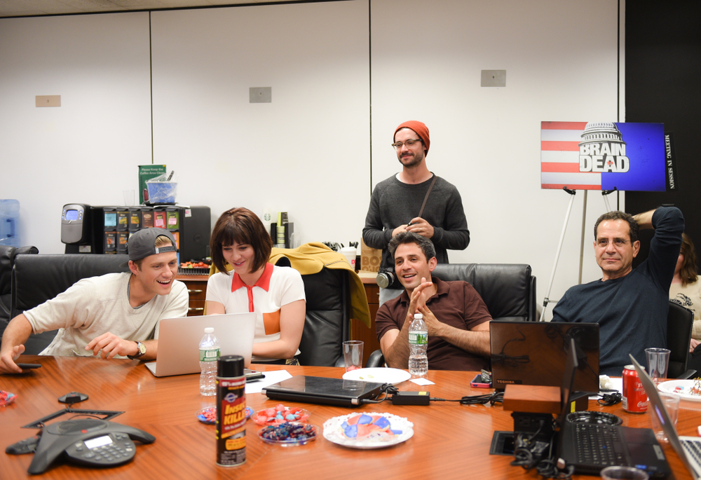 Aaron Tveit (Gareth Ritter), Mary Elizabeth Winstead (Laurel Healy), Tony Shalhoub (Senator Red Wheatus), and Charlie Semine (Anthony Onofrio) enjoy their new show.