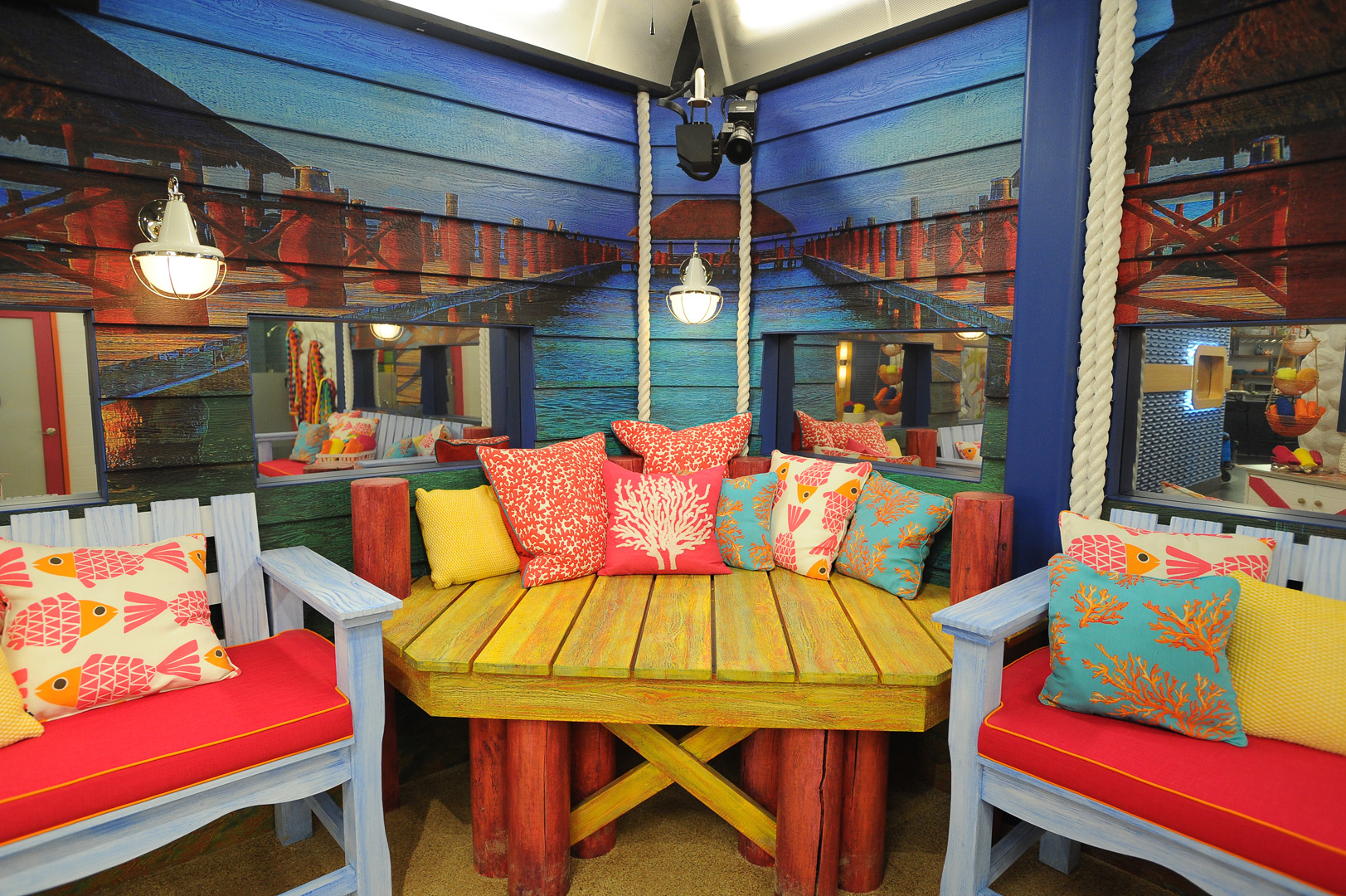 The Houseguests probably won't expect the lavatory to double as a tropical vacation.