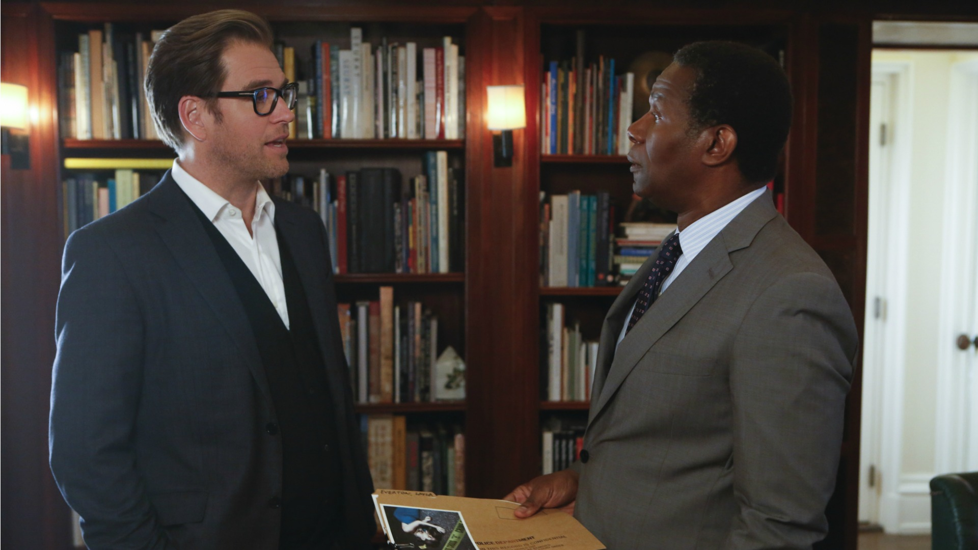 Bull goes over findings with Greg Perkins.