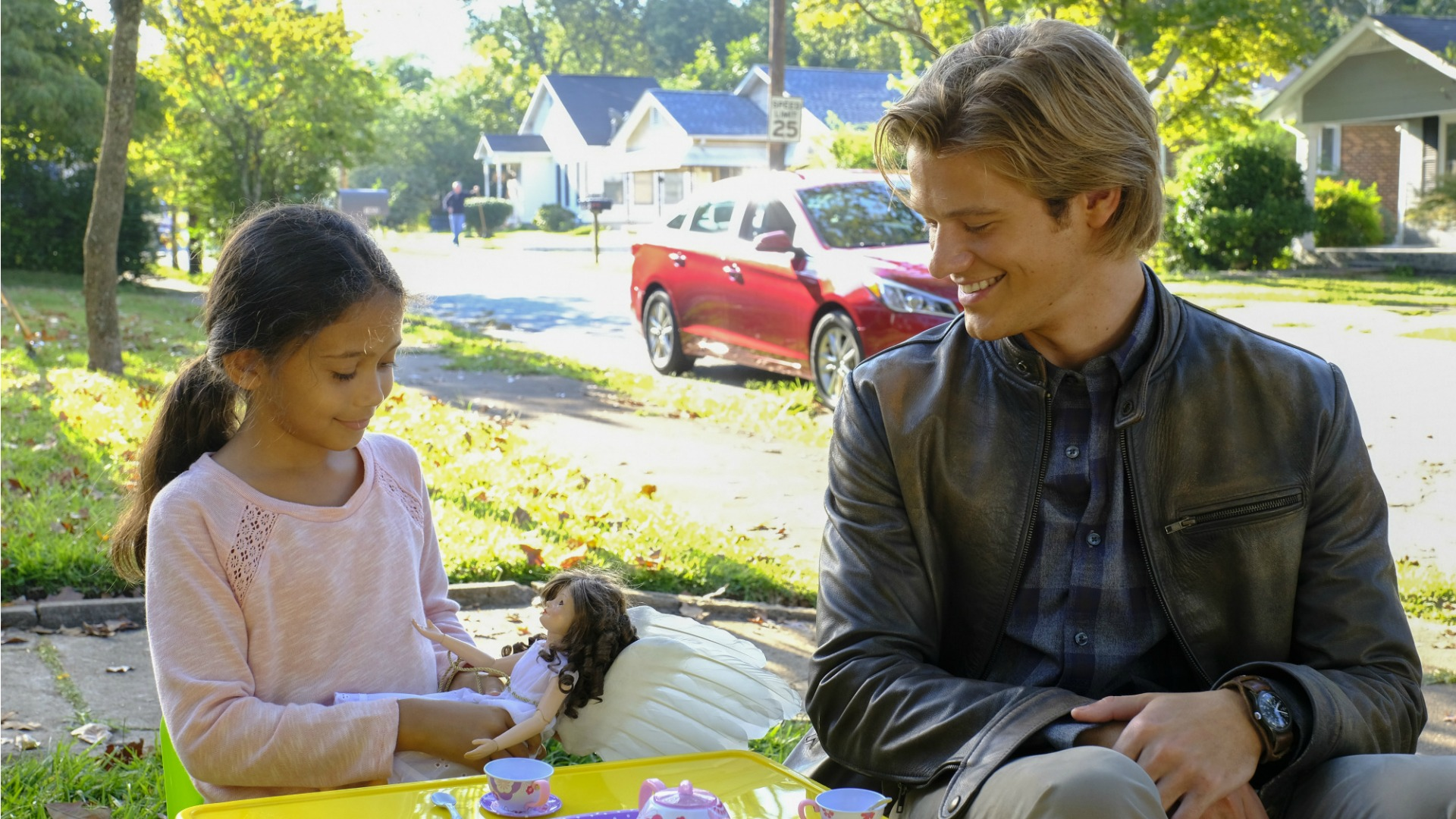 MacGyver speaks with an adorable new friend.